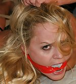 Barra hogtied, mouth-stuffed, cleave-gagged