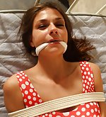 Ann roped on the bed and cleave-gagged