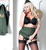 Hot milf is dressed up as a sexy army officer