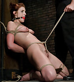 Rough sex and painful clamps with bondage