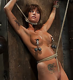 Bound and stripped, nipples clamped, tortured