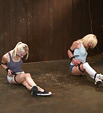 Two blondes strapped, tortured and fisted
