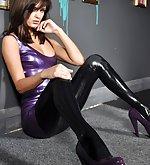 Purple latex dress and black latex leggings