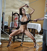 Handcuffed, clamped, whipped and used