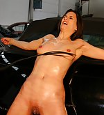 Oiled pussy and tits under whip