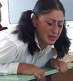 Schoolgirl gets spanked to tears