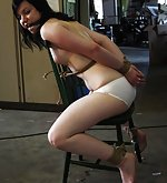 Tied to a chair, extreme tight cleave-gagged