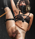 Hairy whore bound in extreme position