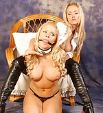 Busty blond is gagged and teased