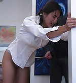 Guilty brunette gets caned hardly