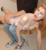 Naughty blonde gets over the knee spanking