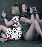 Several girls bound, caned and trained
