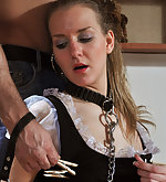 Maid gets stripped, whipped, cuffed and fucked