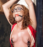 Slut put in extreme bondage and made to cum