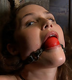 Charlotte in very strict bamboo bondage