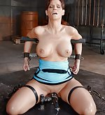 Fit milf cuffed, mouth fucked, vibrated