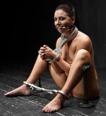 Brunette shackled, chained, double penetrated