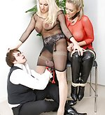 Couple tied and dominated by blond domm