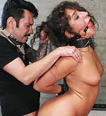 Tight bondage, ball gag, hard anal fucking