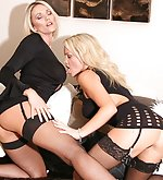 Gorgeous blondes have a little strapon fun