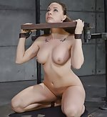 Beautiful model gets fucked in stocks