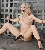 Ziptied to the metal frame, vibed, face-fucked