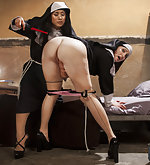 Nun gets tied to the bed and electrofucked
