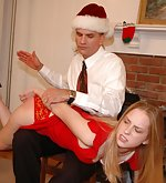 Chloe gets barebottom spanked by her boss