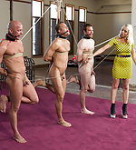 Three men bound and fucked by blonde mistress