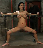 Sexy thin girl with huge boobs gets roped