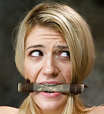 Blond first time tied, tightly gagged, teased