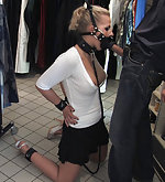 German blonde tied and fucked in public