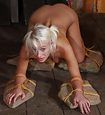 Farm slut stripped, bound and penetrated