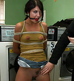 Bound and fucked at the local laundromat
