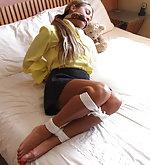 Silk and satin blouses & scarf bondage