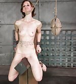 Cuffed, roped, strapped, tits clamped, caned