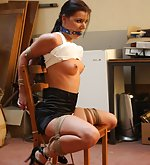 Chair-tied, ball-gagged and tit-grabbed