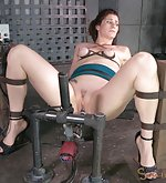 Bondage, fucking machine and two cocks