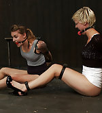 Two girls strapped, locked and vibed