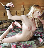 Fit blonde gets whipped, bound and face fucked