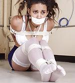 White lingerie, rope bondage, microfoam gag