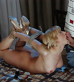 Roped and hogtied, whipped and fucked