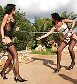 Whip fight between two lovely beauties
